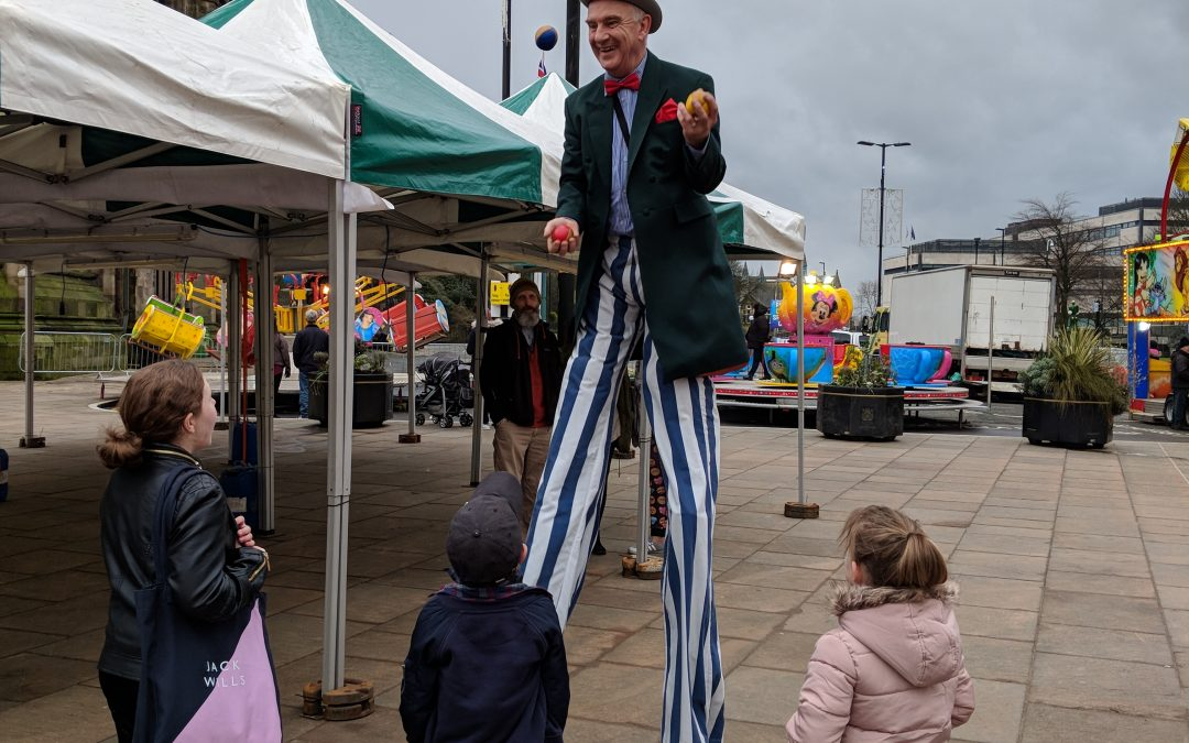Entertaining at the New years Eve celebration, Rochdale Town Hall Square 2017