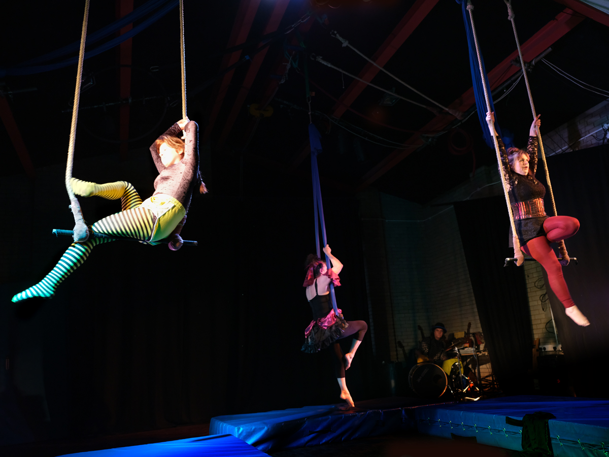 silver circus on trapeze and cocoon